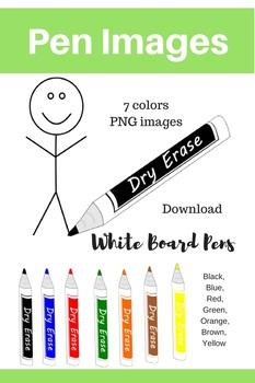 Dry Erase Marker Pen Clip art images, clipart, 7 colors art clip, White Board