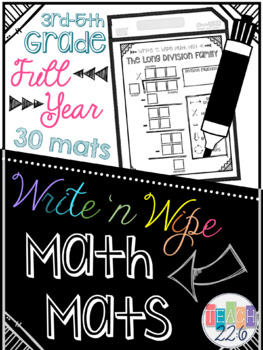 Dry Erase Math Mats - 3rd-5th Grade