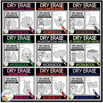 Dry Erase Maze Workbook Bundle 2 Holidays
