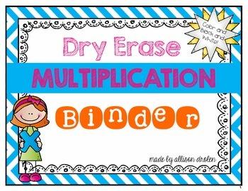 Dry Erase Multiplication Fact Binder