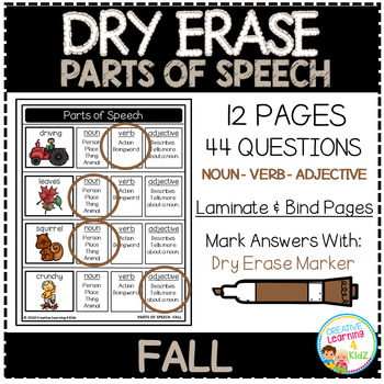 Dry Erase Parts of Speech Workbook: Fall