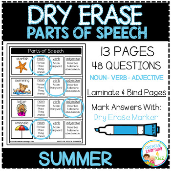 Dry Erase Parts of Speech Workbook: Summer