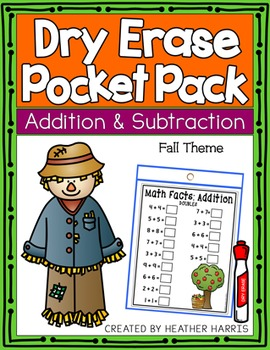 Dry Erase Pocket Pack: Adding and Subtracting FALL THEME