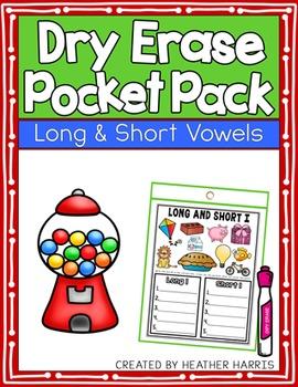 Dry Erase Pocket Pack: LONG AND SHORT VOWELS