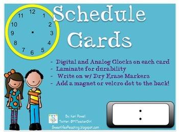 Dry Erase Schedule Cards