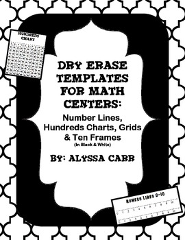 Dry Erase Templates for Math Centers (B&W)