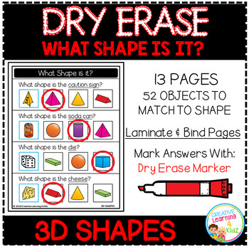 Dry Erase What Shape is it? Workbook: 3D Shapes
