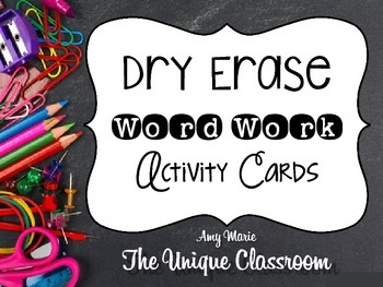 Dry Erase Word Work Activity Cards