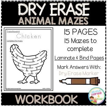 Dry Erase Workbook: Animal Mazes