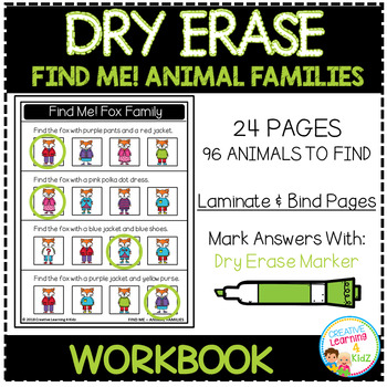 Dry Erase Workbook: Find Me! Animal Families