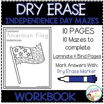 Dry Erase Workbook: Independence Day Mazes