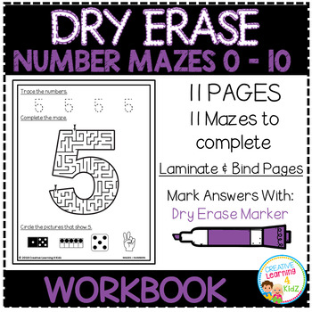 Dry Erase Workbook: Number Mazes 0-10