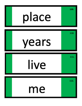 Dry Fry Word Ring and Checklists (Words 101-200)