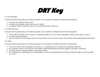 Dry by Neal and Jarrod Shusterman Close Read Activity (Literary Devices)