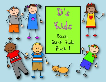 D's Kids Clip Art Basic Stick Kids Pack 1 For Personal/Commercial Use