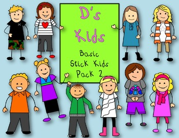 D's Kids Clip Art Basic Stick Kids Pack 2 For Personal/Commercial Use