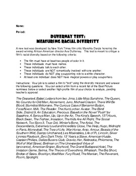 DuVernay Test Movie Guide:  Analysis Tool for Any Movie about Race & Diversity