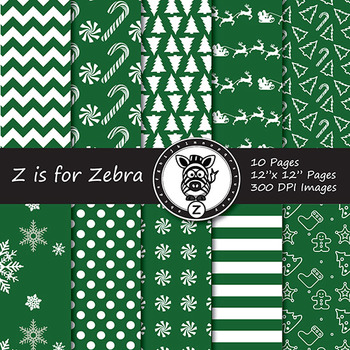 Dual Fill Christmas Digital Paper Pack 3 - CU OK! { ZisforZebra }