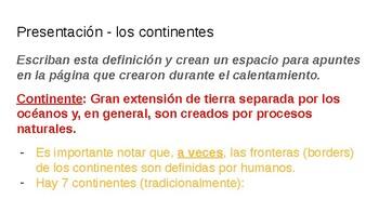 Dual Language Spanish Geography 7th grade: Los Continentes del Mundo