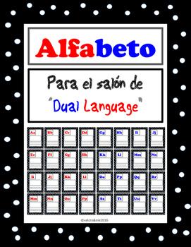 Dual Language Alphabet for Kids English and Spanish -polka dot