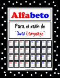 Dual Language Alphabet for Kids English and Spanish -polka dot