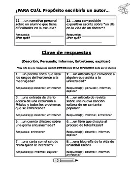 Dual Language - Author's Purpose Pairs Check Activity SPANISH