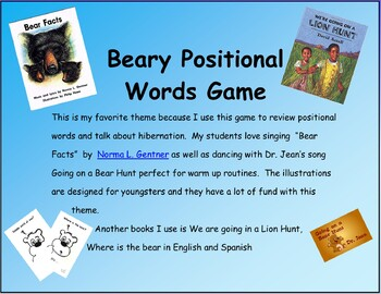 Dual Language Beary positional Words Game