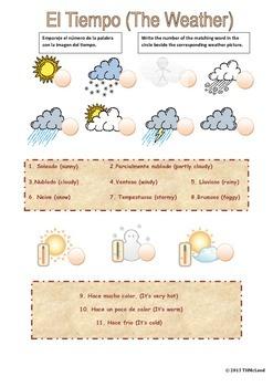 Dual Language, Bilingual, English/Spanish Weather Worksheet