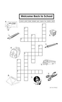 Dual Language Bilingual Kindergarten Back to School Crossword Puzzle