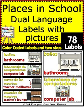 Dual Language  Bilingual Places in School Color Coded Labels