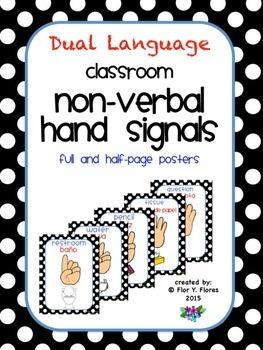Dual Language Black/White Polka Dot Nonverbal Hand Signals Posters