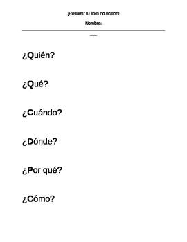 Dual Language - Book Buddies NF Summary SPANISH