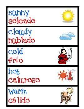 Dual Language Calendar Flippers - English/Spanish