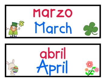 Dual Language Calendar Labels