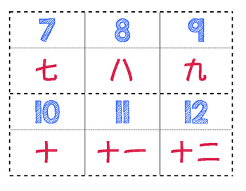 Dual Language Calendar Numbers (Chinese-English)