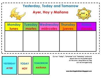 Dual Language Calender Days of the week