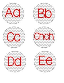 Dual Language Chevron Word Wall Letters Spanish