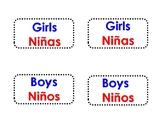 Dual Language Classroom labels Spanish and English