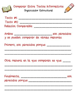 Dual Language - Compare Across Texts Structural Frames SPANISH [Red]