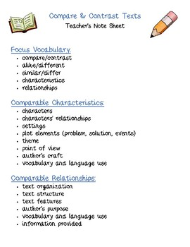 Dual Language - Compare & Contrast Texts Structural Frames ENGLISH [Blue]