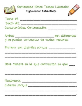 Dual Language - Contrast Across Texts Structural Frames SPANISH [Green]