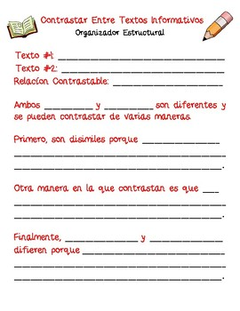 Dual Language - Contrast Across Texts Structural Frames SPANISH [Red]