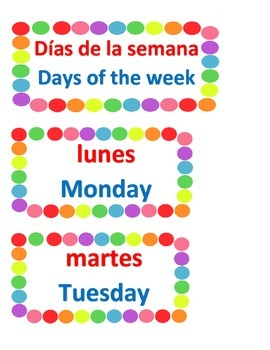 Dual Language Days of the Week/Dias de la Semana