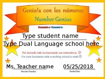 END OF THE YEAR  Dual Language Edible Certificates Certificados de fin de año DL