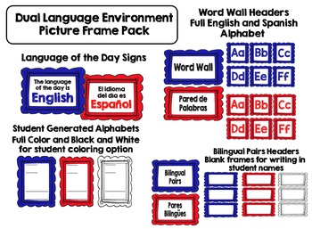 Dual Language Environment 1 Frame Pack for Gomez and Gomez Classroom