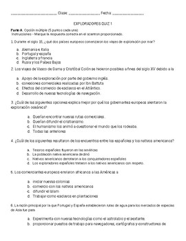 Dual Language Explorer Quiz I (One in English and one in Spanish)