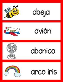 Dual Language Freebie Sampler: Word Wall Voc A thru D