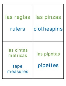 Dual Language [Green/Blue] Science Tool Labels - Intermediate Grades