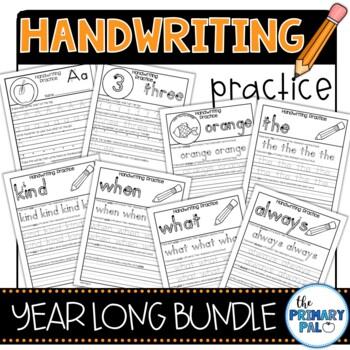Dual Language Handwriting Practice Bundle: Spanish & English