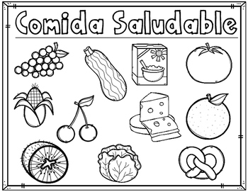 Dual Language Healthy Foods Coloring Sheets:  Activities for Kindergarten
